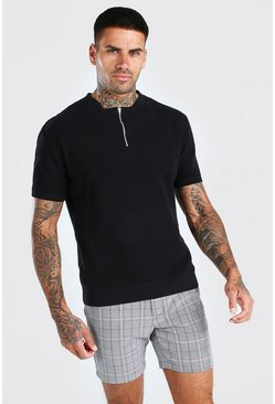 Black Short Sleeve Textured Half Zip Knit T-Shirt