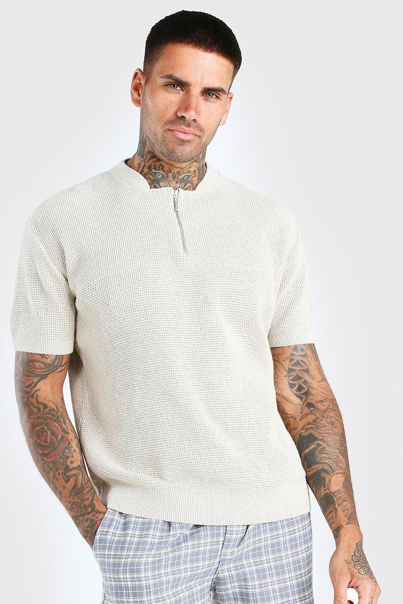 mens short sleeve textured half zip knit t-shirt - beige