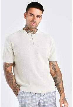 Stone Short Sleeve Textured Half Zip Knit T-Shirt
