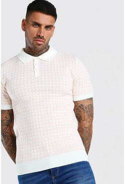 Pink Short Sleeve Dogtooth Knitted Polo