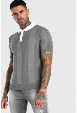 Short Sleeve Contrast Knitted Polo, Grey