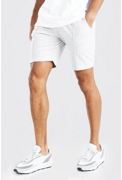 Light grey Dogtooth Pintuck Mid Length Short
