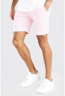 Light pink Dogtooth Pintuck Mid Length Short