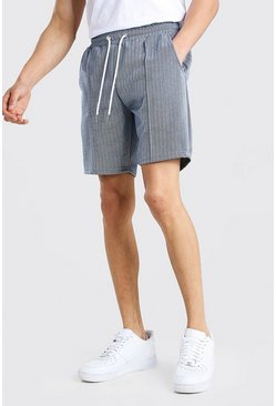 Herringbone Pintuck Mid Length Short , Navy