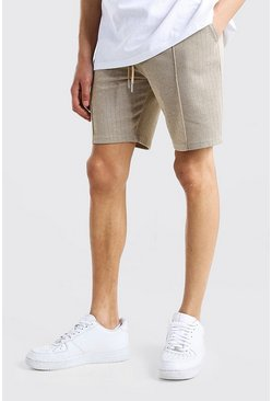 Herringbone Pintuck Mid Length Short , Brown