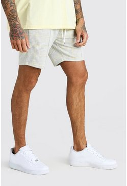 Check Jacquard Mid Length Short , Light grey