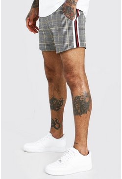 Grey Check Jacquard Short Length Short With Tape Detail