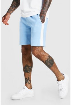 Powder blue MAN Signature Mid Length Panel Jersey Short