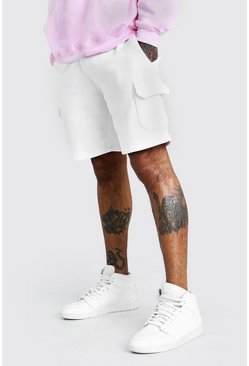 White Mid Length Cargo Jersey Short