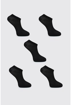 Black 5 Pack Trainer Socks