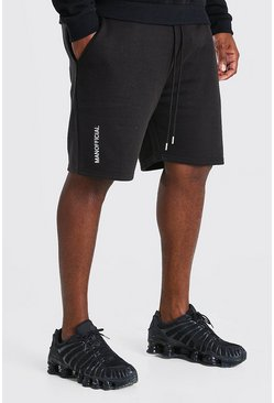 Black Big And Tall MAN Official Embroidered Short