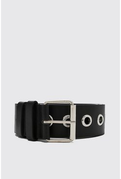 Black Wide Eyelet Belt