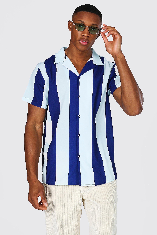Mens Vintage Shirts – Casual, Dress, T-shirts, Polos Mens Short Sleeve Revere Stripe Shirt - White $19.20 AT vintagedancer.com