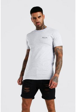 Grey marl MAN Roman Print T-Shirt