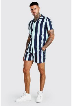 Multi Short Sleeve Vertical Stripe Shirt & Swim Short Set