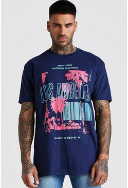 T-shirt coupe oversize imprimé Los Angeles, Marine