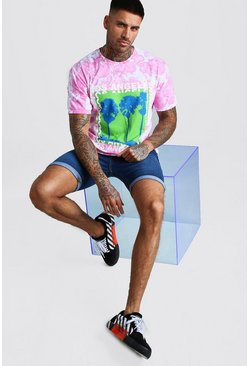 Pink Los Angeles Printed Tie Dye T-Shirt