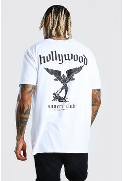 White Oversized Hollywood Sinners Club Back Print T-Shirt