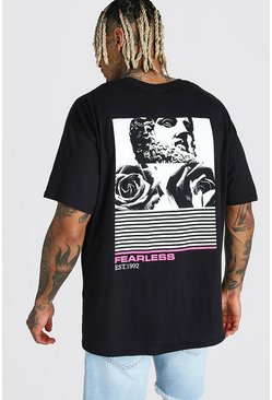 Oversized Statue Flower Back Print T-Shirt, Black