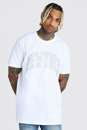 White Oversized New York Print T-Shirt