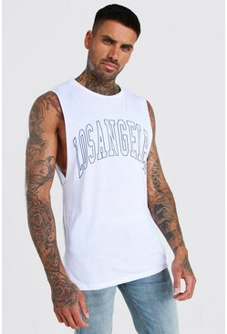 White Los Angeles Print Drop Armhole Tank
