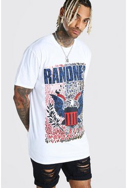 White Oversized Ramones License Print T-Shirt