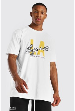 White Oversized Los Angeles Legends Print T-Shirt