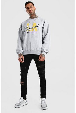 Overszied Los Angeles Sweatshirt, Grey marl