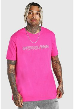 Pink Oversized Official MAN Milan Print T-Shirt