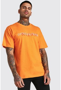 Oversized Official MAN Milan Print T-Shirt, Orange