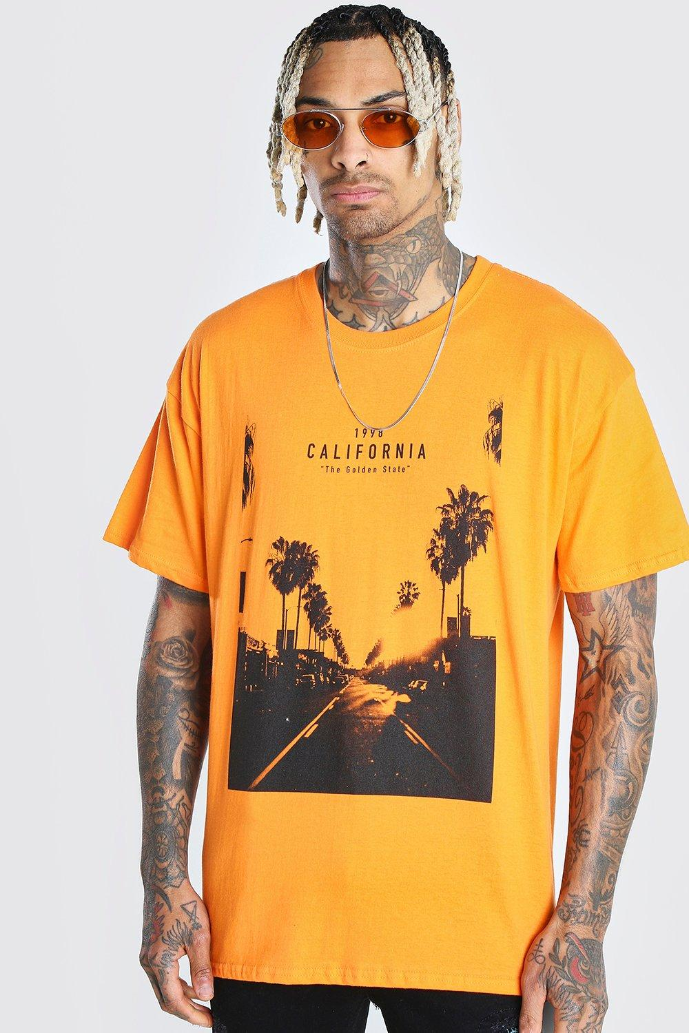 mens oversized california photo print t-shirt - orange