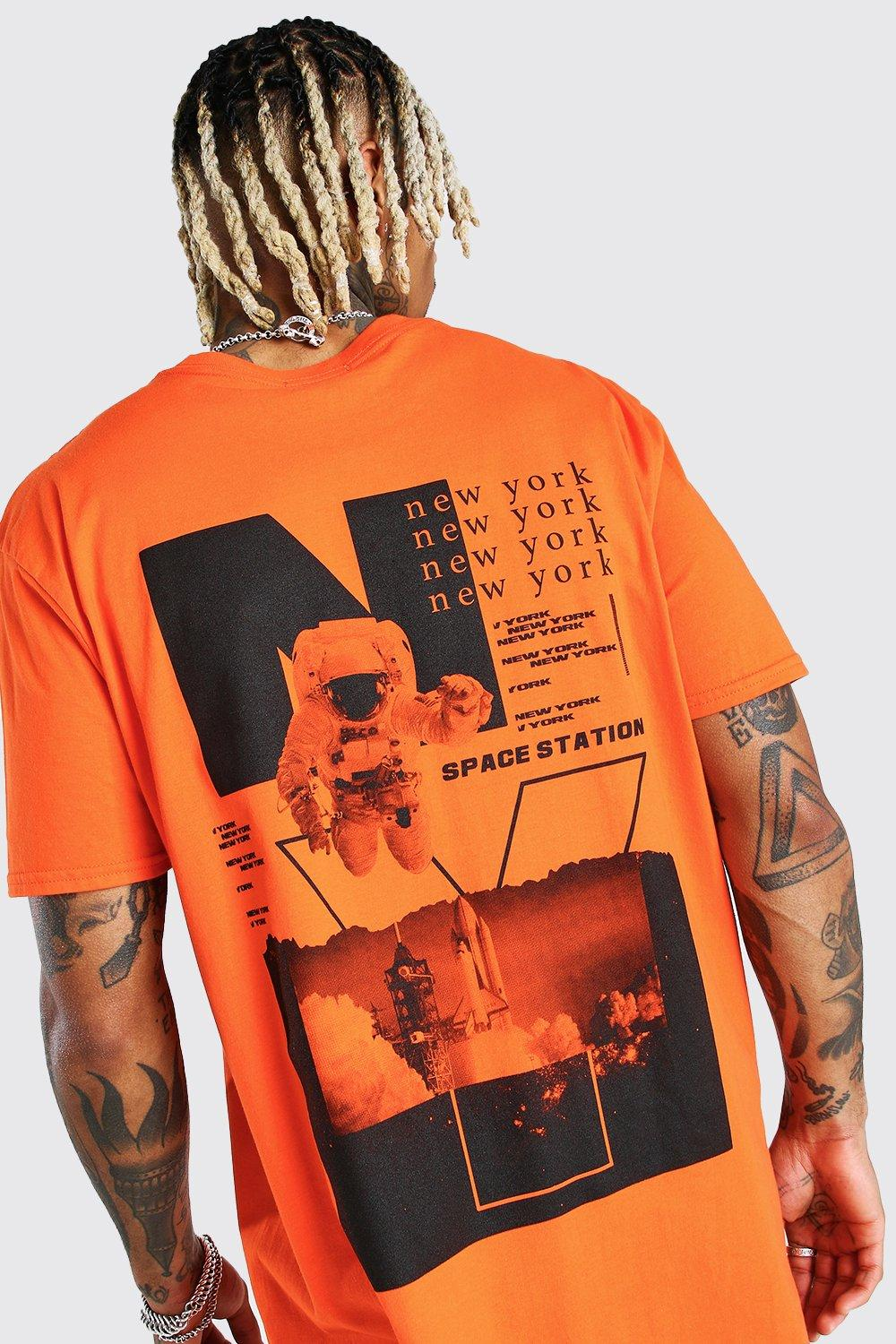 mens oversized astronaut back print t-shirt - orange