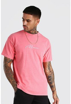 Coral Oversized MAN Signature Overdyed T-Shirt