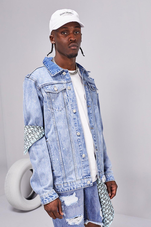 mens distressed rip and repair jean jacket - blue