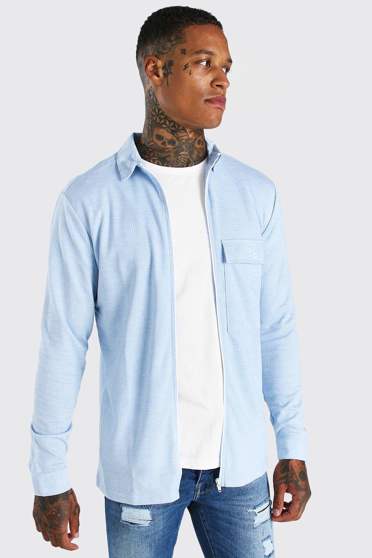 mens long sleeve utility pocket flannel overshirt - blue