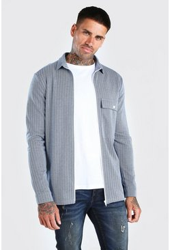 Blue Jacquard Zip Through Overshirt