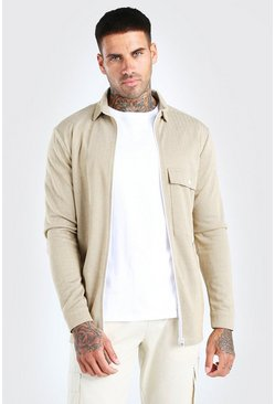Camel Jacquard Zip Through Overshirt