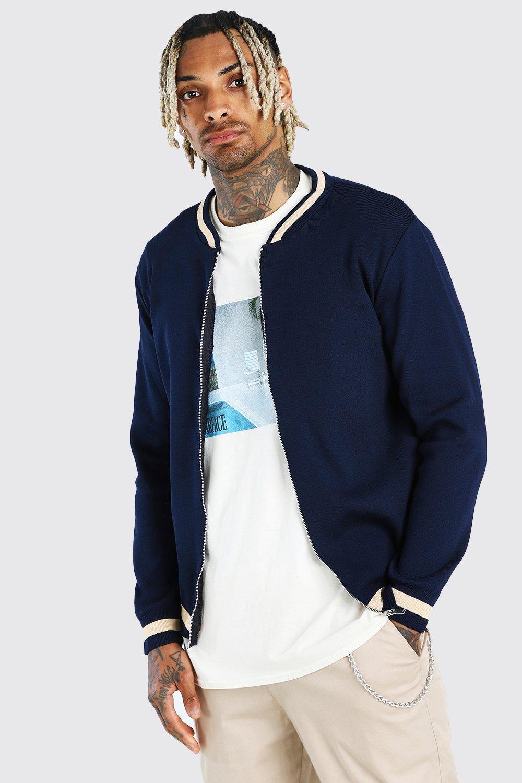 Men's Vintage Style Coats and Jackets Mens Smart Knitted Bomber With Stripe Detail - Navy $40.00 AT vintagedancer.com