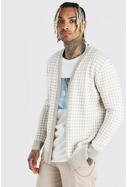 Stone Dogtooth Knitted Cardigan
