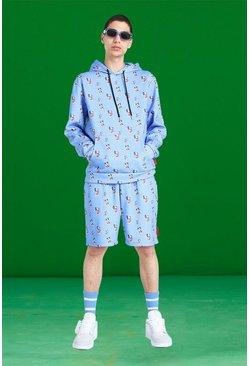 Blue Disney All Over Mickey Print Short Tracksuit