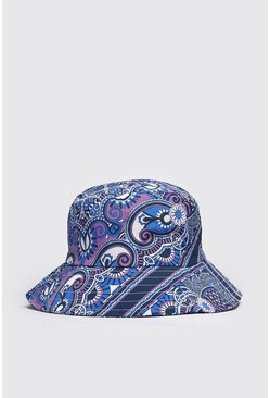 Purple Floral Print Bucket Hat