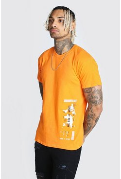 Orange Map Print T-Shirt
