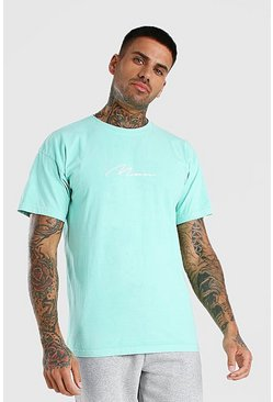 Oversized MAN Signature Overdyed T-Shirt, Mint