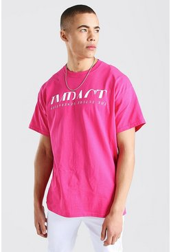 Pink Oversized Statue Back Print T-Shirt