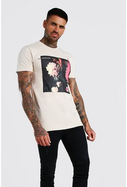 Sand Rose Graffiti Front Print T-Shirt