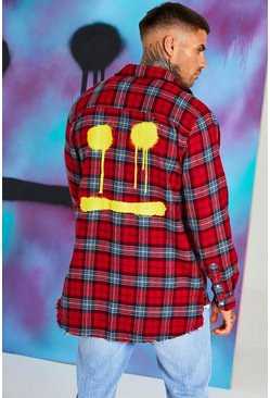 Red Quavo Check Shirt With Back Print