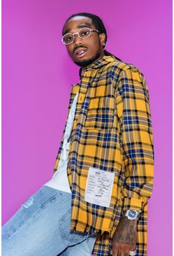 Yellow Quavo Check Shirt With Back Print