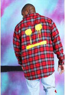 Red Big And Tall Quavo Check Shirt With Back Print