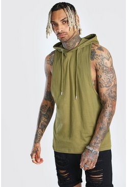 Khaki Racer Back Tank Top With Hood
