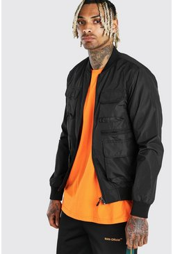 Black Utility Pockect Bomber Jacket